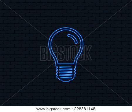 Neon Light. Light Bulb Icon. Lamp E27 Screw Socket Symbol. Led Light Sign. Glowing Graphic Design. B