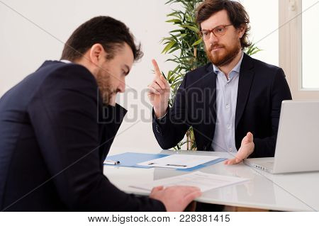 Anxious Employee After A Mistake During A Boss Conversation