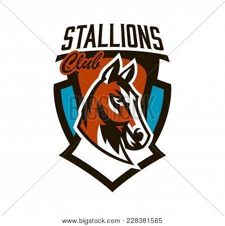 Colorful Logo, Sticker, Horse Emblem. Beautiful Stallion, Horse Racing, Fast Animal, Mascot Of The S