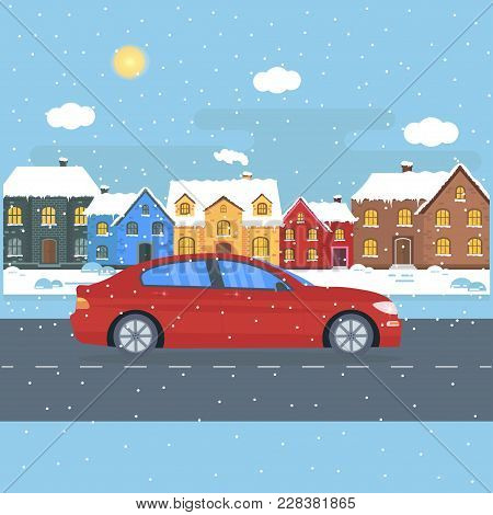 Poster With The Red Machine, Cab In The City. Public Taxi Service Concept. Cityscape  With Snow On W