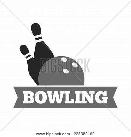 Bowling Ball And Pins Logo Template For Bowling Sport Game Tournament. Vector Isolated Icon Of Strik