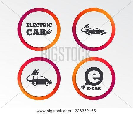 Electric Car Icons. Sedan And Hatchback Transport Symbols. Eco Fuel Vehicles Signs. Infographic Desi