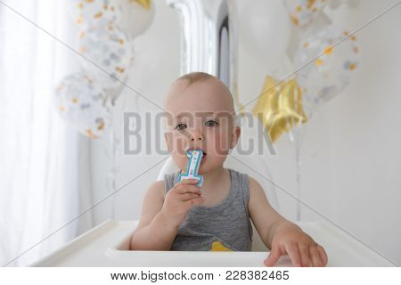 Adorable Baby Boy Celebrating First Birthday . Kids Birthday Party Decorated With Balloons Child Eat