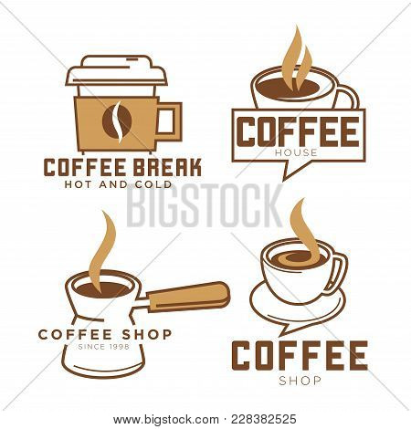 Coffee Cup Logo Templates Set For Coffeeshop Or Cafeteria And Cafe Design. Vector Icons Of Cappuccin