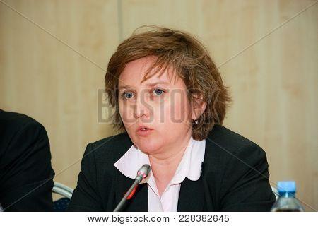 Moscow, Russia - April 24, 2016: Sap Russia Ceo Natalia Parmenova Make Panel Discussion At Sap Forum
