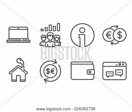 Set Of Money Exchange, Notebook And Teamwork Results Icons. Money Currency, Browser Window Signs. Eu