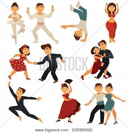 Dancing People Dance Different Dances. Vector Flat Cartoon Characters Man And Woman Pair Dancing Bal