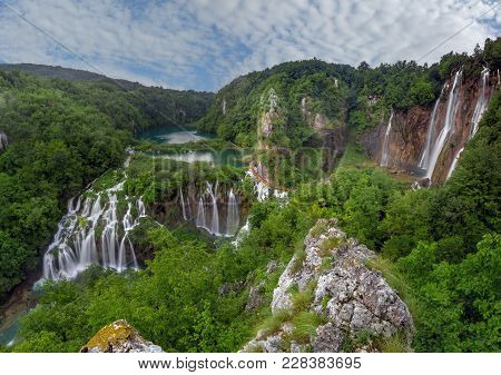 Panorama Of Plitvice Waterfalls,plitvice Lakes,chroatia,europe.spring Over Park