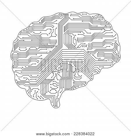 Abstract Technological Brain. Digital Brain Concept. Vector Illustration.
