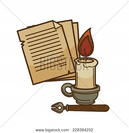 Poetry Writer Old Book Pages With Vintage Ink Pen And Candle. Vector Isolated Icon Of Novel, Fiction