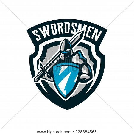 Colorful Logo, Knight S Emblem In Iron Armor. A Warrior Of The Middle Ages, A Knight Holds A Shield