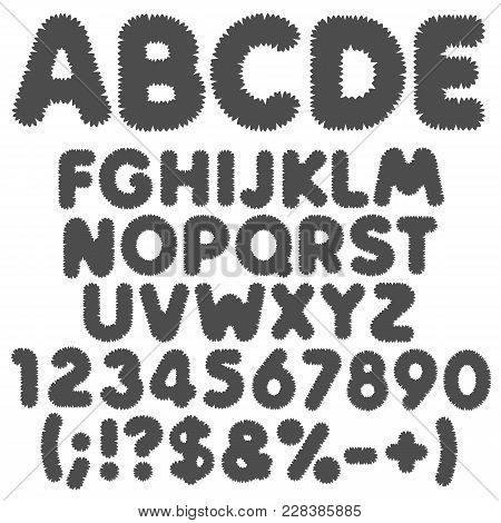 Shaggy Black And White Alphabet, Letters, Numbers And Signs. Isolated Vector Objects On White Backgr