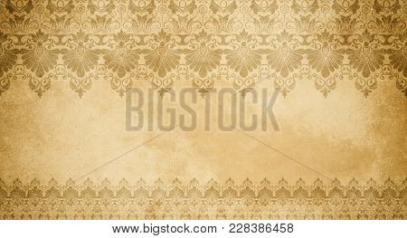 Aged Grunge Paper Texture With Decorative Vintage Patterns. Vintage Paper Texture With Decorative Ol