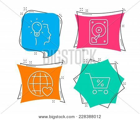 Set Of Idea, International Love And Hdd Icons. Special Offer Sign. Professional Job, Internet Dating