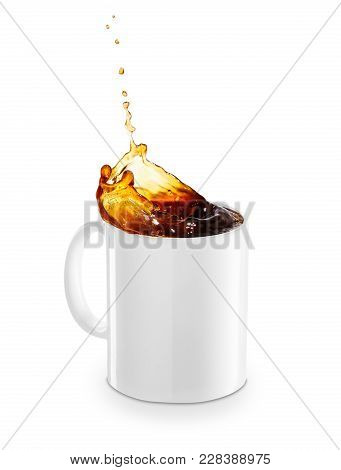 Mug Of Spilling Coffee Or Tea Isolated On White Background. Coffee Splash