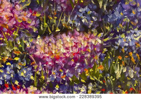 Original Handmade Abstract Oil Painting Bright Flowers Made Palette Knife. Red, Yellow, Blue, Purple