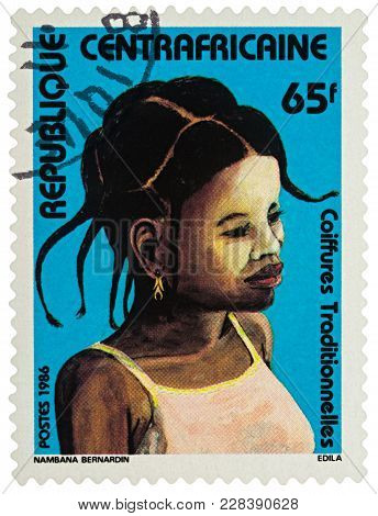 Moscow, Russia - February 24, 2018: A Stamp Printed In Central African Republic, Shows Portrait Of Y