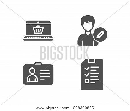 Set Of Online Shopping, Id Card And Edit Person Icons. Interview Sign. Notebook With Shopping Cart,
