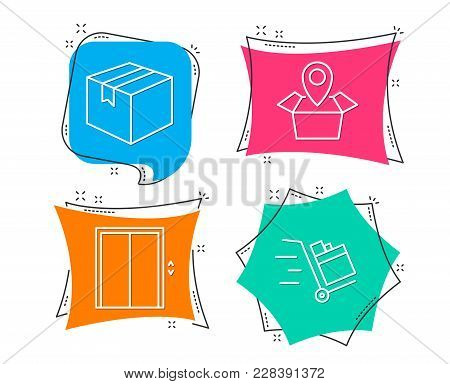 Set Of Parcel, Package Location And Lift Icons. Push Cart Sign. Shipping Box, Delivery Tracking, Ele