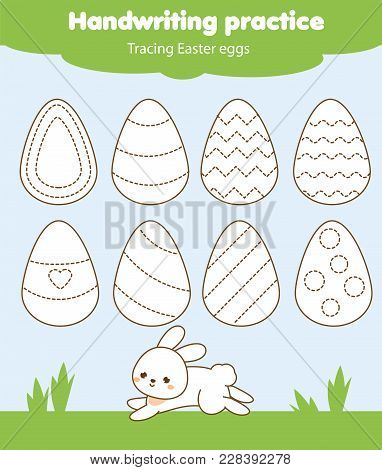 Easter Activity. Tracing Lines For Toddlers. Handwriting Practice Sheet. Educational Children Game,