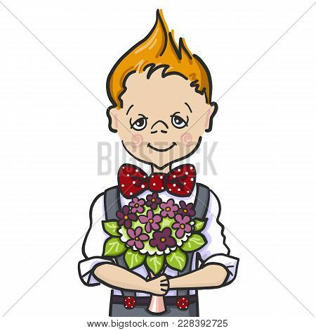 Color Picture Cartoon Character Of A Little Boy Red Hear Who Wants To Give A Bouquet Of Flowers To H
