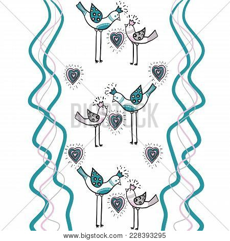 Two Love Birds With Heart And Wave Color Lines Blu, Pink, Grey Are Part Of A Beautiful Ornament That