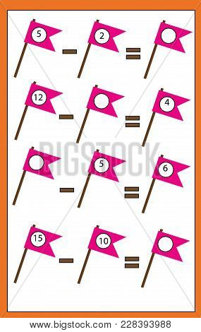 Math Educational Game For Children. Counting Equations. Study Subtraction. Mathematics Worksheet Wor