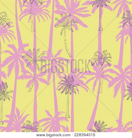Seamless Tropical Palms Pattern. Summer Endless Hand Drawn Vector Background Of Palm Trees Can Be Us
