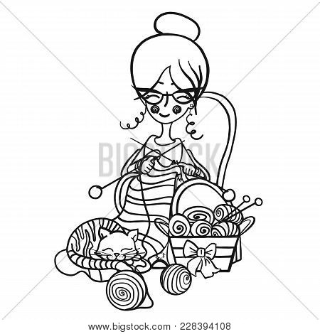 Happy Cute Smiling Granny Woman With Glasses Sits In A Chair And Knits Knitting Needles Striped, Cat