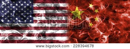 United States Of America And China Smoke Flag
