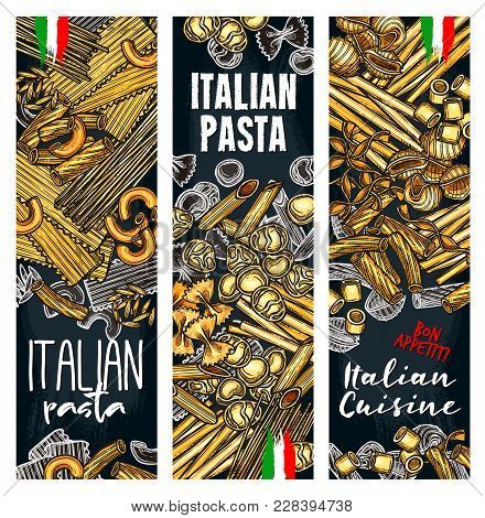 Vector Poster With Different Italian Pasta Ravioli Or Gnocchi, Ditalini And Rotelle, Tortellini Or O