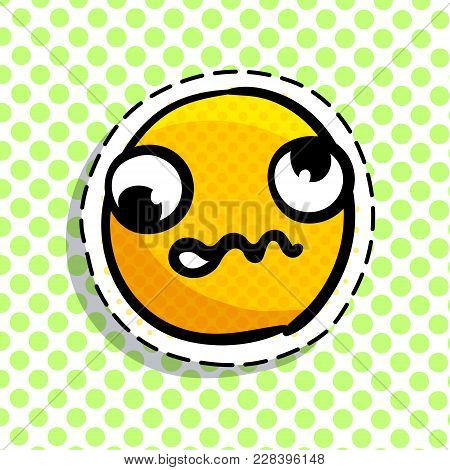 Discouraged Yellow Smile On Dots Background. Smail In Pop Art Style. Vector Illustration.