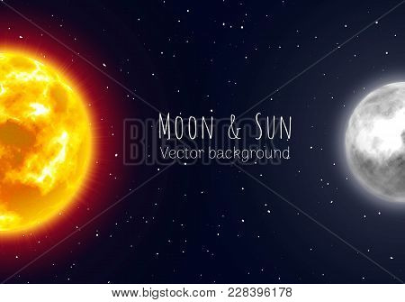 Half Moon And Sun, Night Sky Background, Cartoon Style. Star And Planet Of Solar System In Galaxy. V