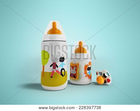 A Set Of Bottles And A Pacifier For A Child 3d Render On A Blue Fonet With A Shadow