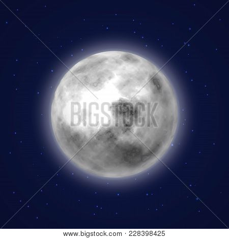 Planet Moon Background Night Sky Cartoon Style. Earth Satellite With Stars Around. Celestial Body. V