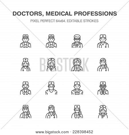 Doctors Professions. Medical Occupations - Surgeon, Cardiologist, Dentist Therapist, Physician, Nurs