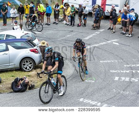 Col Du Glandon, France - July 24, 2015: The Welsh Cyclist Luke Rowe Of Team Sky, Climbing The Road T