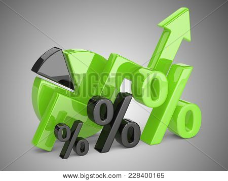 Graph, Diagram And Green Percent Signs. Business Concept Of Success Of Development.  3d Illustration