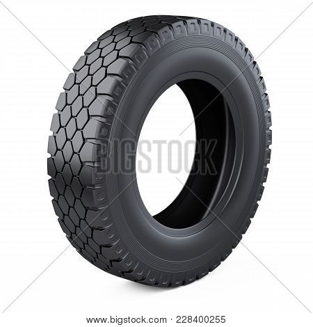 Big New Tire For Truck. Car Wheel. 3d Illustration Over White Background.