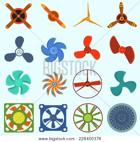 Set Of Fans And Propellers Icons Isolated Vector Object. Propeller Fan Icons Cool Ventilation Ship S