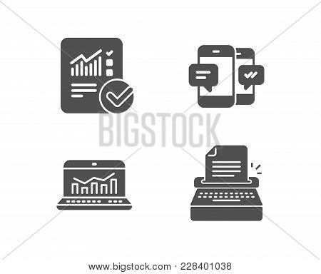 Set Of Smartphone Sms, Web Analytics And Checked Calculation Icons. Typewriter Sign. Mobile Messages