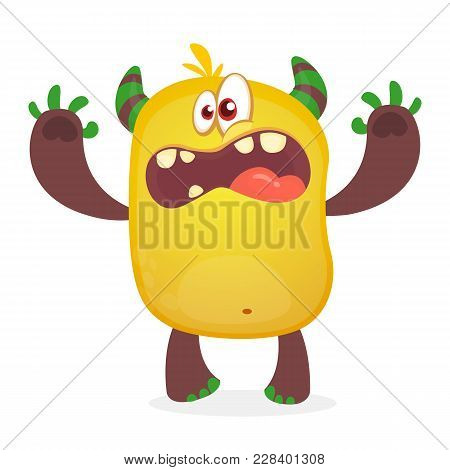 Cute Furry Orange Monster. Vector Troll Character. Design For Children Book, Holiday Decoration, Sti