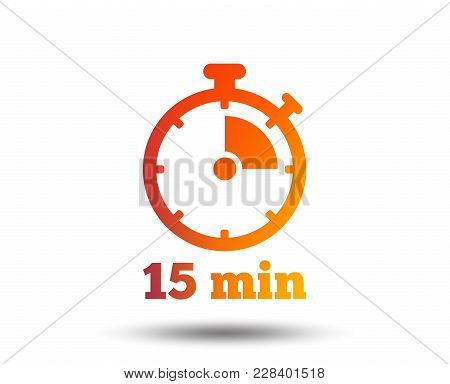 Timer Sign Icon. 15 Minutes Stopwatch Symbol. Blurred Gradient Design Element. Vivid Graphic Flat Ic
