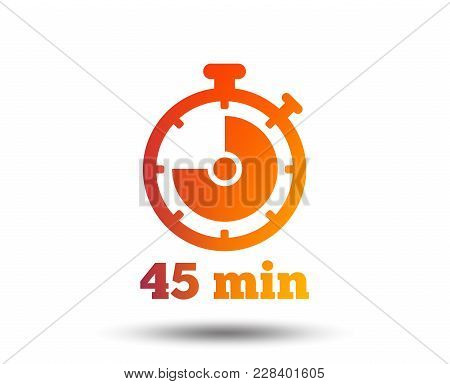 Timer Sign Icon. 45 Minutes Stopwatch Symbol. Blurred Gradient Design Element. Vivid Graphic Flat Ic