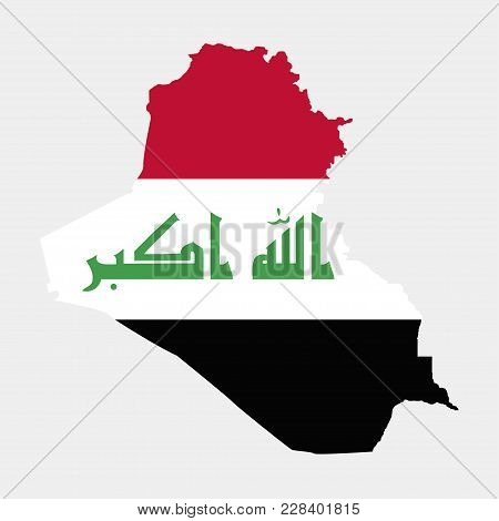 Territory And Flag Of Iraq. Gray Background