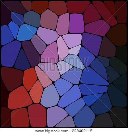 Abstract Background Consisting Of Black Lines With Rounded Edges Of Different Sizes And Red, Blue, P