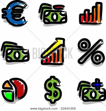 Vector web icons marker colour contour economy