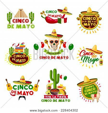 Cinco De Mayo Mexican Holiday Celebration Icons. Vector Set Of Mexico Aztec Pyramid, Sombrero Hat An