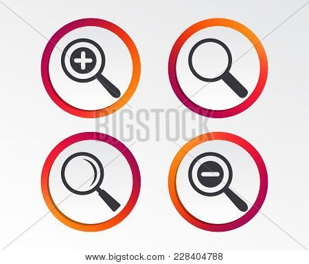 Magnifier Glass Icons. Plus And Minus Zoom Tool Symbols. Search Information Signs. Infographic Desig