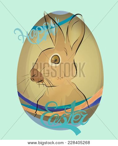Happy Easter Holiday Card With Eggs And Bunny